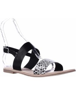Bidisha Flat Sling-back Sandals - Black Snake