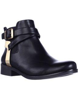 Krew Heel Strapped Anke Booties - Black