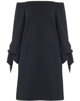 Structured Crepe Off-the-shoulder Dress