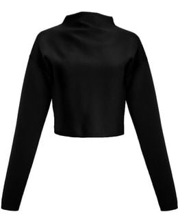 Ribbed Mock Neck Cropped Sweater