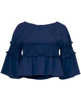 Stretch Faille Smocking Cropped Top