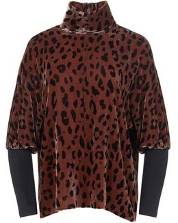 Cheetah On Silk Velvet Dolman Turtleneck
