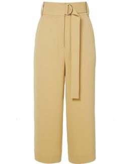 Drape Twill High Waisted Cropped Pants