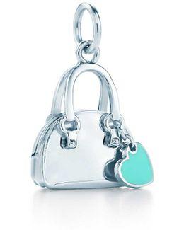 Handbag Charm In Sterling Silver With Tiffany Blue. Enamel Finish