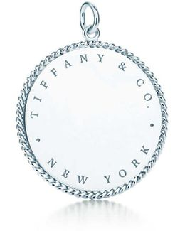 Round Charm In Sterling Silver, Extra Large
