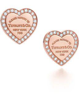 Mini Heart Earrings In 18k Rose Gold With Diamonds