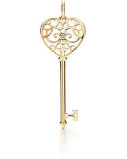 Tiffany Enchant. Heart Key Pendant In 18k Gold With Diamonds