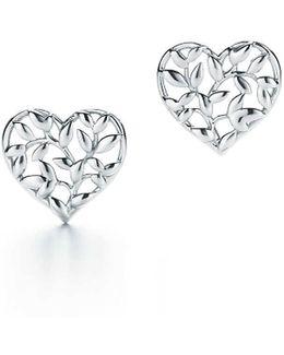 Olive Leaf Heart Earrings