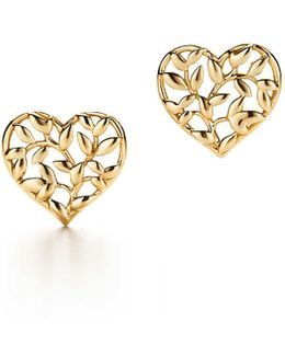 Paloma Picasso. Olive Leaf Heart Earrings In 18k Gold