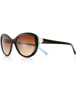 Return To Tiffany. Oval Sunglasses In Tortoise And Tiffany Blue. Acetate