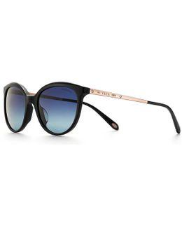 Phantos Sunglasses In Black Acetate And Rose Gold-coloured Metal