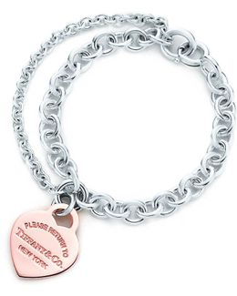 Double Chain Heart Tag Bracelet In Silver And Rubedo. Metal