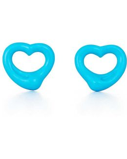 Elsa Peretti. Open Heart Earrings Of Turquoise And 18k Gold