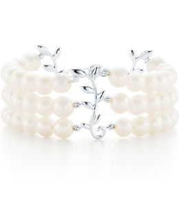 Paloma Picasso. Olive Leaf Three-row Pearl Bracelet In Sterling Silver