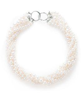 Olive Leaf Torsade Pearl Necklace