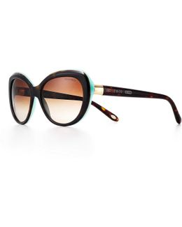 Round Sunglasses In Tortoise And Tiffany Blue Acetate