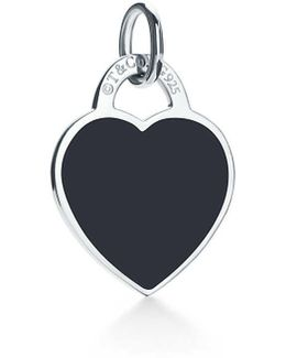 Heart Tag Charm In Sterling Silver With Enamel Finish, Small