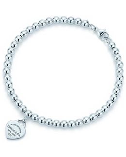 Mini Heart Tag Sterling Silver Bead Bracelet