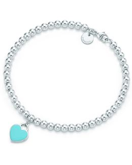 Mini Heart Tag In Sterling Silver On A Bead Bracelet - 7 In