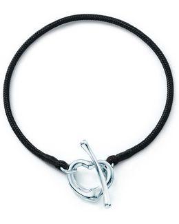 Elsa Peretti. Open Heart Silk Bracelet With Sterling Silver, Medium