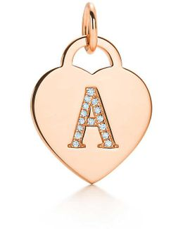 "Alphabet Heart Tag Letter ""x"" Charm In 18k Rose Gold Letters A-z Available - X"