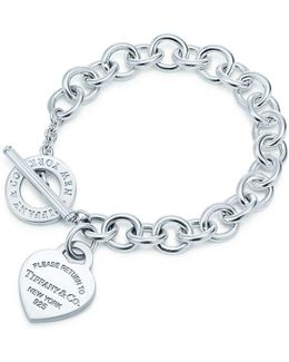 Heart Tag Toggle Sterling Silver Small Bracelet