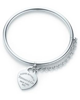 Heart Tag Bangle With Chain