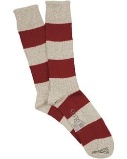 Rugby Stripe Sock In Red