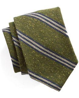 Striped Silk Wool Tie In Green