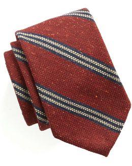 Striped Wool Silk Tie In Red