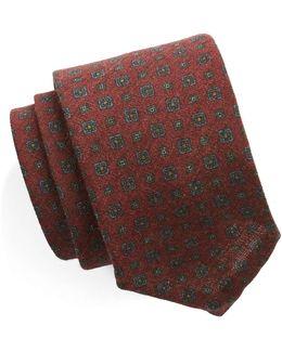 Foulard Silk Wool Tie In Red
