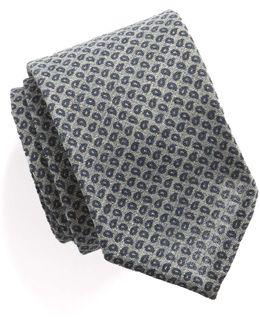 Mini Paisley Silk Wool Tie In Navy