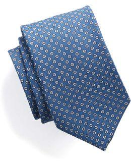 Silk Foulard Dot Tie In Blue