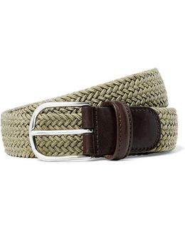 Solid Woven Elastic Belt In Tan
