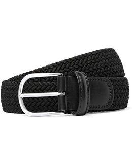 Solid Woven Elastic Belt In Black