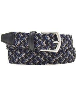 Multi Woven Elastic Belt In Navy
