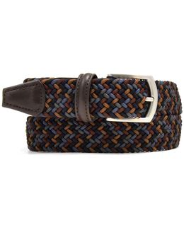Multi Woven Elastic Belt In Brown