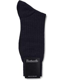 Laburnum Merino Wool Socks In Navy