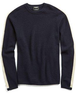 Italian Merino Ski Crewneck Sweater In Navy