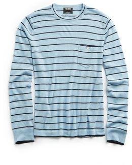 Wide Stripe Cashmere Stripe Sweater In Blue