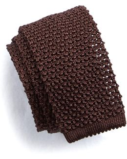 Classic Knit Silk Tie In Brown
