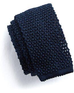 Classic Knit Silk Tie In Navy