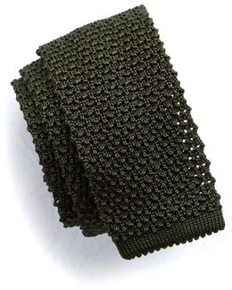 Classic Knit Silk Tie In Olive