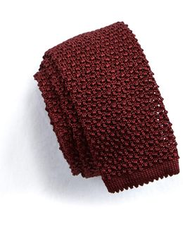 Classic Knit Silk Tie In Maroon