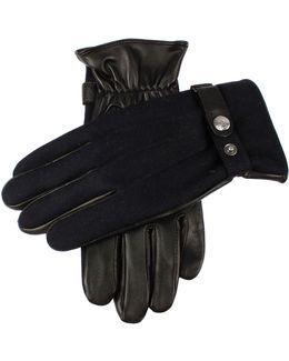 Dents Guilford Wool Flannel Back Gloves In Navy/black