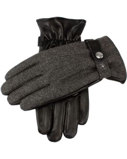 Dents Guilford Wool Flannel Back Gloves In Charcoal/black