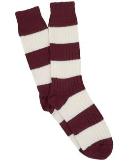 Coton Rugby Stripe Socks In Maroon