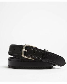Seamed Leather Belt In Black