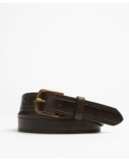 Seamed Leather Belt In Brown