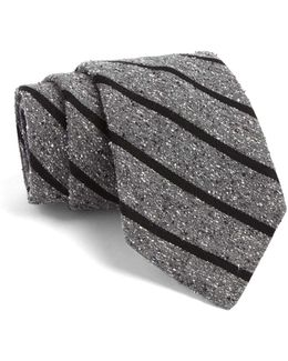 Fulton Tie In Grey With Black Stripes